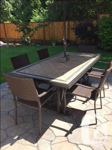 Tile top Patio Dining Table and Chairs
