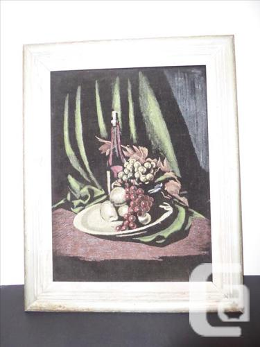 TRADITIONAL PAINTING OF FRUIT BOWL & WINE BOTTLE
