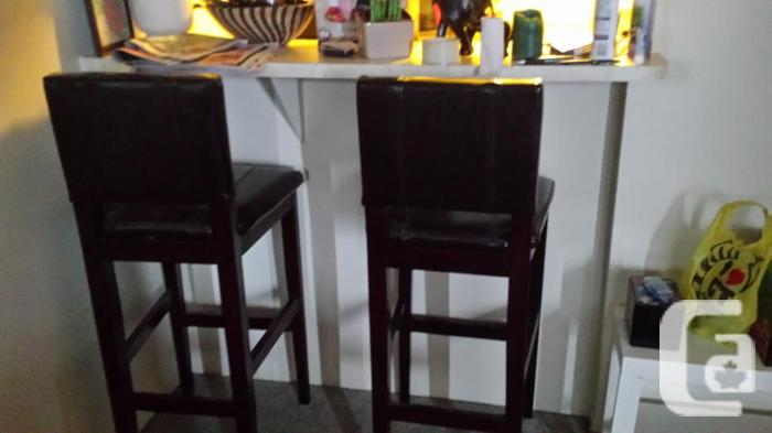 Two Leather Bar Stools