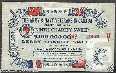 US$7.95 479 - CANADA 1929 Derby Charity Sweep Ticket
