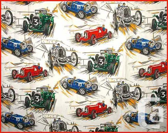 Vintage 1950s Race Car Curtains Drapes Fabric