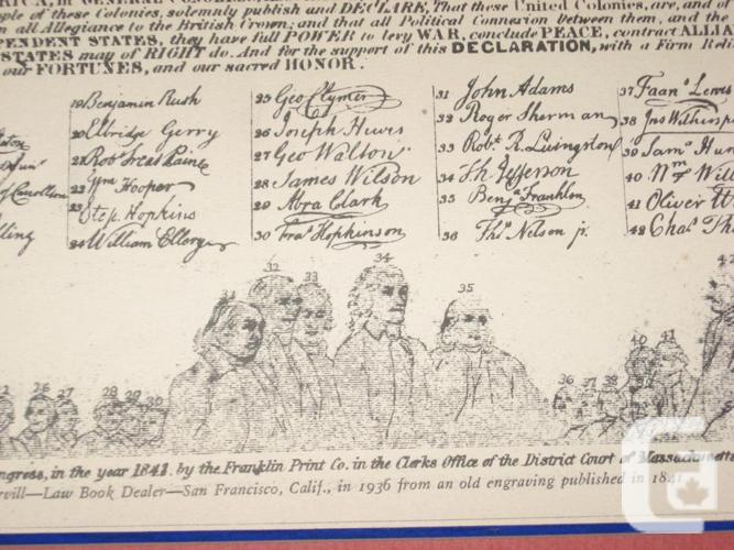 "Vintage American declaration of Independence 19"" x"