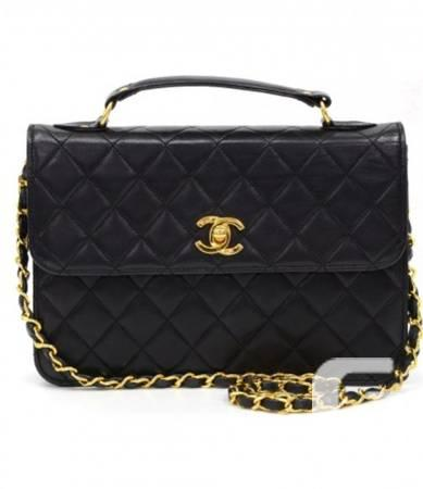 Vintage Chanel Black Quilted Lambskin 2 Way Bag - $1850