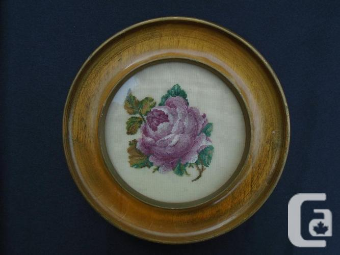 Vintage Handmade Petit Point Round Wood Framed Rose
