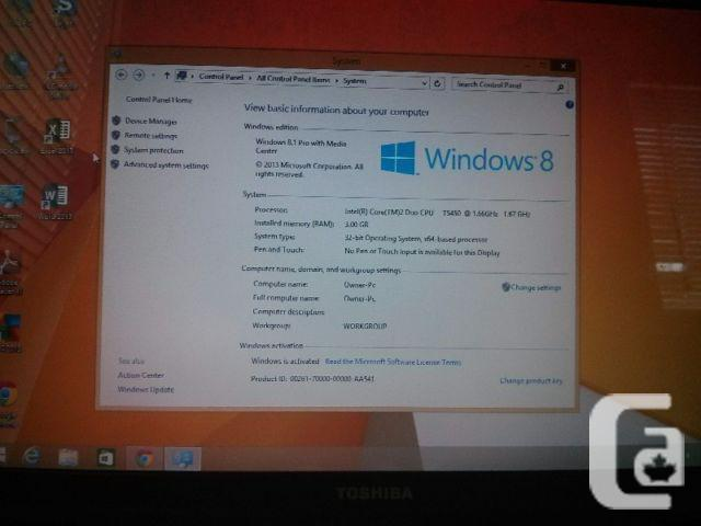 WINDOWS8.1-DUAL CORE-3GB RAM-TOSHIBA A200-MINT