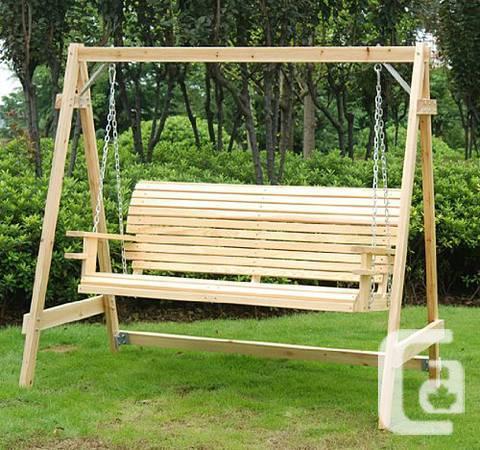 Wood Outdoor Swing Chair Patio Garden Furniture Hammock