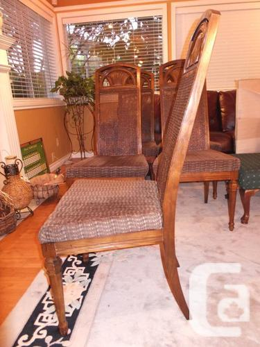 Wooden dining room chairs with cloth seats for sale in for Dining room tables victoria bc