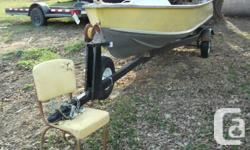 This item is a 14' aluminum boat, brand name Sterling, trailer, and a 2006 Yahama 9.9 motor. The aluminum boat has two swivel chairs that attach to the seat. The boat motor is in excellent condition. I am asking 1,600.00 or best offer.Please email any