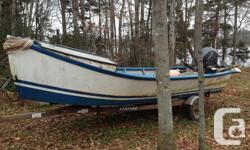 16ft fiberglass over plywood oyster dory. Coughlin constructed, bunches of room up front. Requirements some repair works, but would certainly still make an excellent comfortable job watercraft with a little time spent. Outboard and also trailer aware is