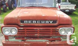 Make Mercury Year 1959 Colour Red 1959 Mercury M100 6 Cyl, standard trans Was a farm truck, no rust NEW king pins and bushings New shocks and tranny seal New pinion seal and a carb kit New points and plugs and plug wires New fuel pump Good Glass all