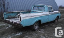 """Make Ford Model F-Series Colour blue kms 116800 1963 Mercury M100 Unibody CustomCab for sale. 223 six cylinder engine, three speed, column shift, 9"""" rearend with 3.89:1 open. 73,000miles. Currently not running, engine is dry seized. Engine is full of oil."""