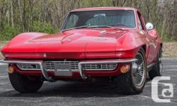 1966 Chevrolet Corvette Coupe has a 427 C.I. (425 HP) L72 4BBL V8 (Date Code Correct), 4 Speed Muncie Transmission (Numbers Matching), Independent Rear Suspension w/ 3.55:1 Ratio, Correct Rally Red Exterior (974), Correct Red Vinyl Interior (407), Highest