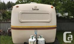 """1977 Boler - 17ft fiberglass trailer - 3 burner stove, 3-way fridge (110,12V,Propane), propane heater/furnace, working shower/toilet - sleeps 4 adults and top bunk for 1-2 children - beds measure 44""""w x 74"""" long (couch) and 44""""w x 78"""" long (dinette) -"""