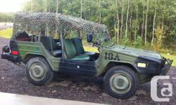 Colour Green Camouflage Trans Manual kms 39875 1985 Bombardier Iltis (Canadian Military). 1.7 lt Volkswagen Engine. Front mounted winch. (has separate battery) 24 volt system. Manual transmission. Good condition. Low kms (39875). Street legal and plated