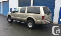 """2005 Ford Excursion Limited, 6.0L diesel, 5sp automatic,4X4, new 35"""" nitto tires and new wheels, 4"""" turbo back exhaust, EGR deleted, AFE intake, truck is loaded with options, including heated seats and mirrors, remote start,and alarm, oil cooler just"""