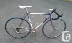 Mid 80's Vintage Canadian made 54cm Bertrand with Columbus SLX tubing. Bertrand bikes were made by the Hull Quebecois master frame builder Gilles Bertrand (He used to make bikes for champs like Steve Bauer) He was renowned as the best framebuilder in the