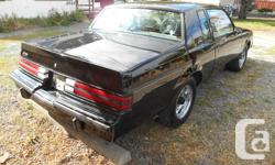 Make Buick Model Grand National Year 1987 Colour Black kms 50000 Trans Automatic It's in great condition, low kilometers, fast. There is some surface rust starting at the bottom of the driver's door. The car is located in Victoria.