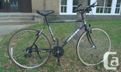 """this is a light quality hybrid 22 cm or 56 cm hi tensile frame(25 lbs) you should be between  5' 9"""" to 6' 3"""" 18 speed  Shinano 70 GS groupo end bars for comfort new cables and new shimano SLR housing Kin lin alloy 700 wheels Continental tires Selle Royal"""