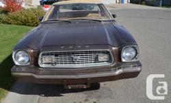 Make Ford Model Mustang Year 1974 Colour Brown kms 35600 Trans Automatic Don't miss out on this rare 1974 Mustang II Ghia with only 35,600 miles and the 2.8L V-6. Great for collectors. This car was my grandmas only car and owned it since 1974. We don't