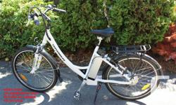 """On """"SALE"""" now at Kgeez Cycle in Victoria This electric bike is a powered buy a 36volt 350 watt """"LITHIUM SYSTEM"""" and will travel up to 70kms on a charge. Features: Built in computer display Lithium battery life is 900 cycles Speed of 32km/hr Weight is"""