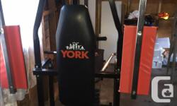 """York 2001 Home Gym with """"Pec Mate"""" and """"Trim Mate"""" add ons. In excellent used condition! Everything you need for a mini-circuit workout at home! Includes original workout manual and three large exercise posters. Asking $200 OBO. Feel free to call, text or"""