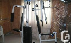 """York Mega Max 3001 Gym $150.00 O.B.O. No tears or rips in the foam/benches. The weights are inclosed and sealed in a heavy duty plastic type material. weight goes up to 210 pounds. the dimensions are Height 81"""" Width 38"""" Length 82"""". - butterfly press -"""