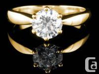 .90 Carat Round Diamond Ring in 14k Yellow Gold!!!