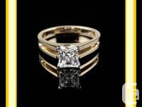 1 CT SI2 H PRINCESS CUT DIAMOND ENGAGEMENT RING.   A
