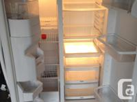 ice and water dispenser white fridge side by side very