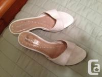 SIZE 6 - white heels (Hush Puppie) and white flip flops