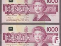 I am selling some 1954 and some 1988 $1000 bank
