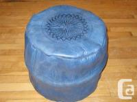 Moroccan leather blue pouf, hand made with traditional
