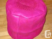 Moroccan leather fuchsia pouf, hand made with