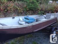 12' aluminum boat with steel trailer. Comes with bilge