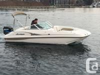 Compact yet comfortable deck boat. Front deck wrap
