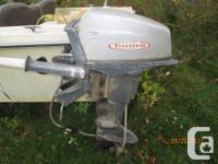 12 HP. Firestone boat motor was running 5 years ago but