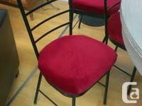 Must go! 12 iron chairs with beautiful red valour seats