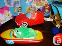 Includes 1 baby hamster,Carriage,Boat, Stroller, Car.