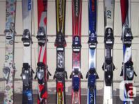 Eight pairs of 120cm ~ 125cm junior alpine skis for