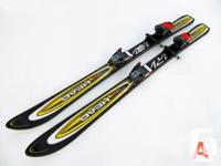 Three pairs of 120-cm junior alpine skis for sale. All