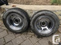 """As pictured. 14"""" chrome wheels, with fitting wire"""