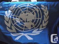 Large United Nations Nylon Flag Measuring 3ft X 5 ft .