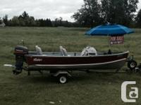 Made in Canada 14' Nadan angling boat. 25hp Sailor