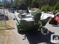 for sale 14 foot aluminum boat, 9.9 hp johnson 2 stroke