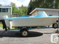 14 ft Hourston fg runabout with 40 hp Johnson outboard