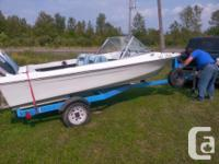 14 ft Maverick fibreglass boat, 50 hp evinrude motor