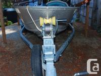 15' welded Westcoaster aluminum boat c/w 25 hp Merc