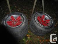 4 Red Aluminum Mag Rims, Daytona Radials S/R, P235 60