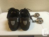 SHIMANO SPEEDY CYCLING SHOES WITH CLEATS & PEDALS size