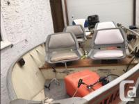 16' boat is ready to go fishing, with 25 HP Evinrude
